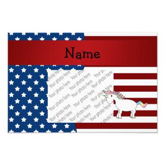 Personalized name Patriotic unicorn Photo Print