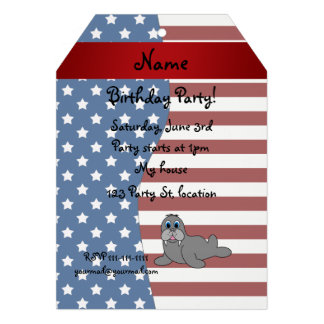 Personalized name Patriotic walrus Custom Announcement