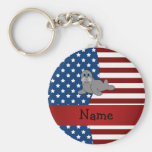 Personalized name Patriotic walrus Key Chains