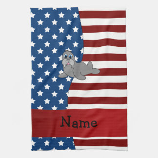 Personalized name Patriotic walrus Hand Towel