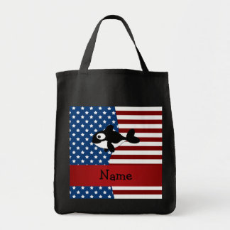 Personalized name Patriotic whale Tote Bags