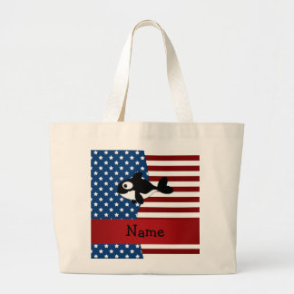 Personalized name Patriotic whale Tote Bag