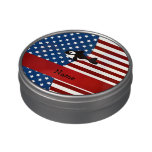 Personalized name Patriotic whale Jelly Belly Candy Tins