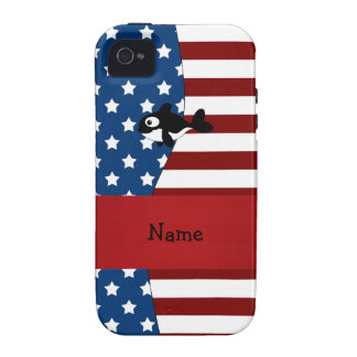 Personalized name Patriotic whale Vibe iPhone 4 Cases