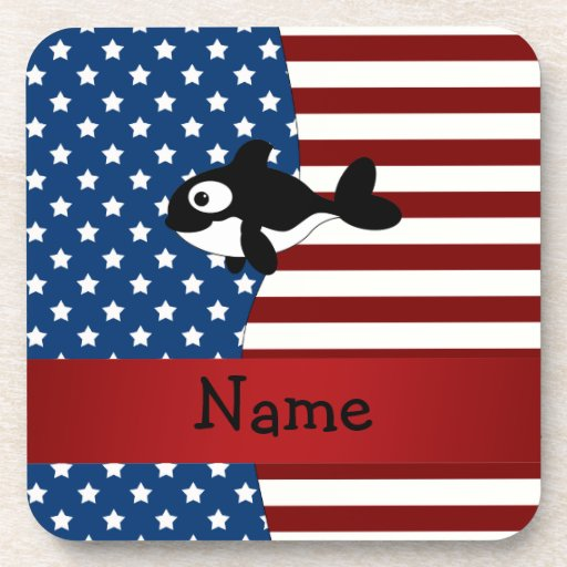 Personalized name Patriotic whale Drink Coasters