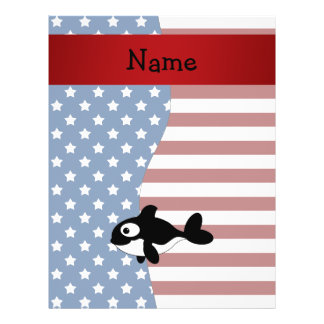 Personalized name Patriotic whale Custom Flyer