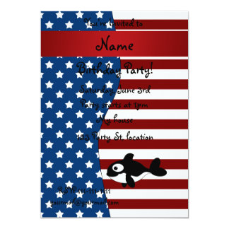 Personalized name Patriotic whale Custom Announcements