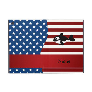 Personalized name Patriotic whale Covers For iPad Mini