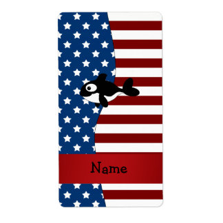 Personalized name Patriotic whale Personalized Shipping Label