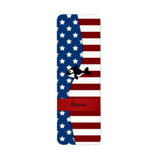 Personalized name Patriotic whale Return Address Labels