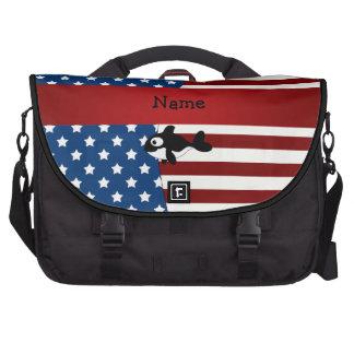 Personalized name Patriotic whale Laptop Messenger Bag