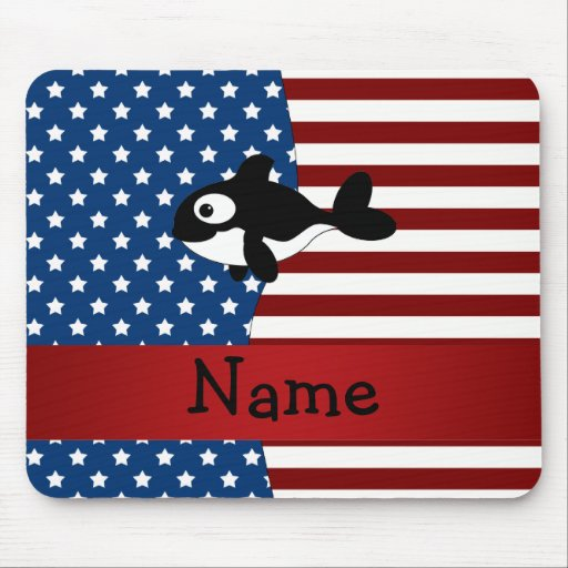 Personalized name Patriotic whale Mousepads