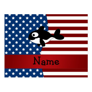 Personalized name Patriotic whale Postcards