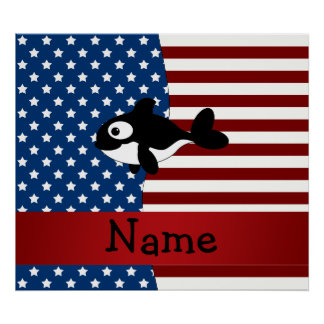 Personalized name Patriotic whale Print