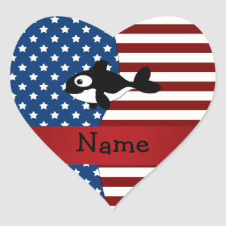 Personalized name Patriotic whale Heart Sticker