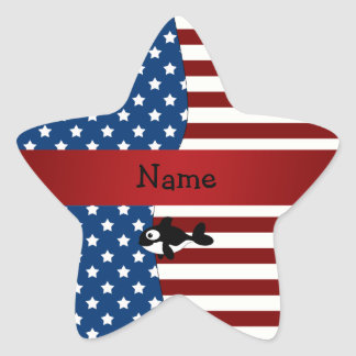 Personalized name Patriotic whale Sticker