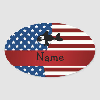 Personalized name Patriotic whale Oval Stickers