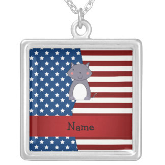 Personalized name Patriotic wolf Personalized Necklace