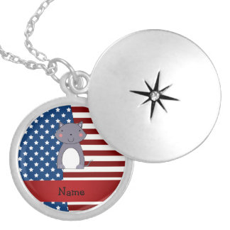 Personalized name Patriotic wolf Pendant