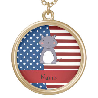 Personalized name Patriotic wolf Pendants