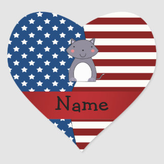 Personalized name Patriotic wolf Stickers