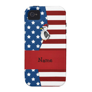 Personalized name Patriotic woodpecker Case-Mate iPhone 4 Cases