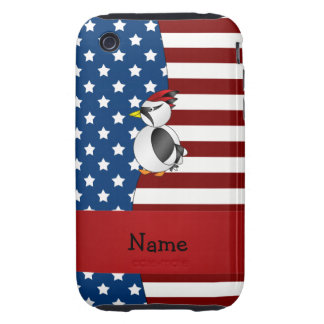 Personalized name Patriotic woodpecker iPhone 3 Tough Case
