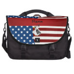 Personalized name Patriotic woodpecker Laptop Commuter Bag