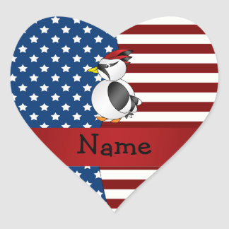 Personalized name Patriotic woodpecker Stickers