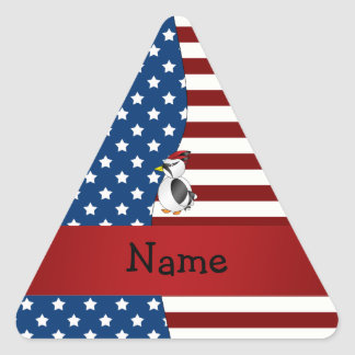 Personalized name Patriotic woodpecker Triangle Sticker