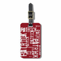 personalized name pattern typography bag tag