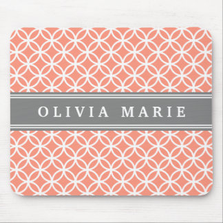 Personalized Name Peach Modern Circles Pattern Mouse Pad