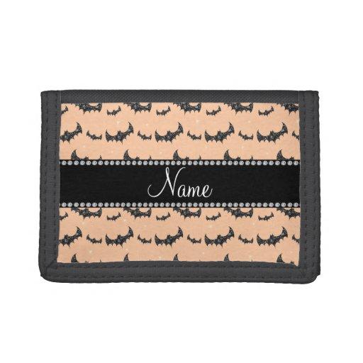 Personalized name peach orange glitter bats tri-fold wallets