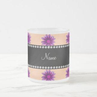 Personalized name peach orange purple pink flowers mugs