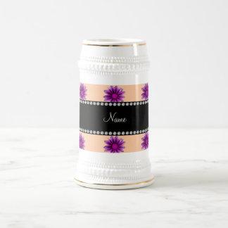 Personalized name peach orange purple pink flowers coffee mug