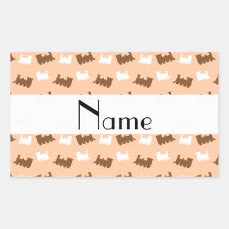 Personalized name peach orange train pattern sticker