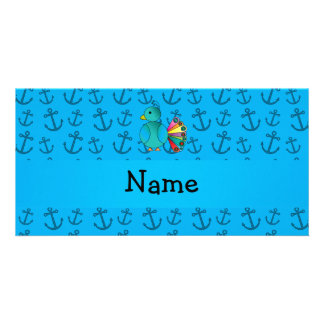 Personalized name peacock blue anchors pattern photo card