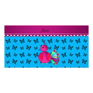 Personalized name peacock blue butterflies photo card
