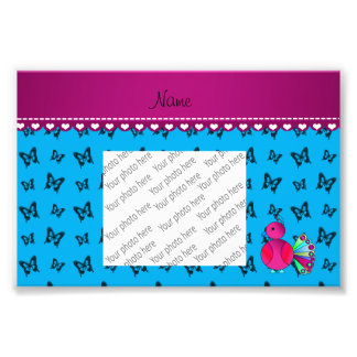 Personalized name peacock blue butterflies photo art