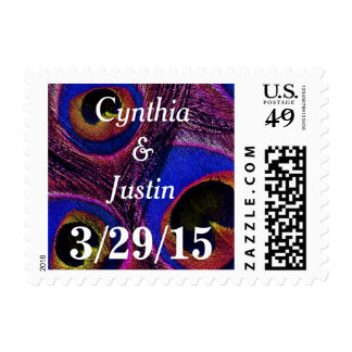 Personalized Name Peacock Feather Postage Stamps