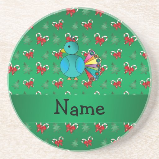 Personalized name peacock green candy canes bows beverage coaster