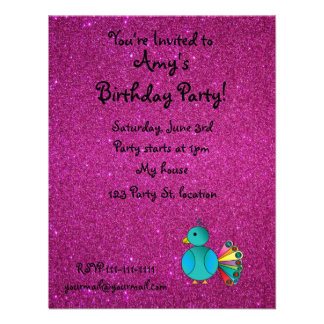 Personalized name peacock pink glitter personalized invites