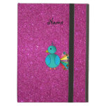 Personalized name peacock pink glitter iPad folio case