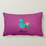 Personalized name peacock pink glitter pillow