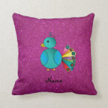 Personalized name peacock pink glitter throw pillow