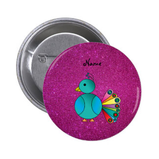 Personalized name peacock pink glitter pinback button