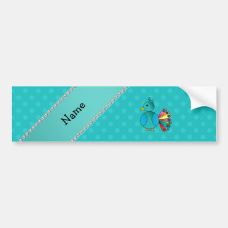Personalized name peacock turquoise polka dots bumper stickers