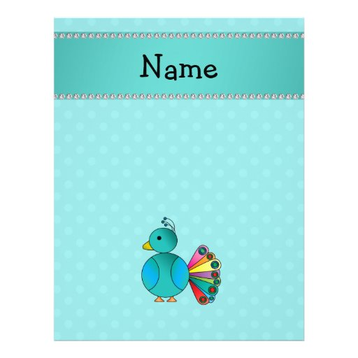 """Personalized name peacock turquoise polka dots 8.5"""" x 11"""" flyer"""
