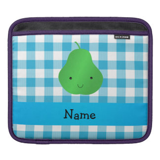 Personalized name pear blue checkers iPad sleeve