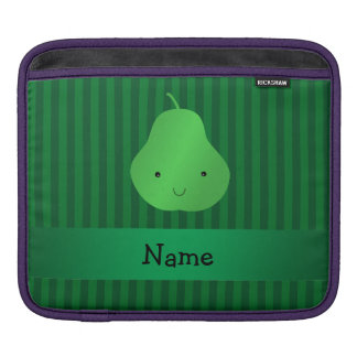 Personalized name pear green stripes sleeve for iPads